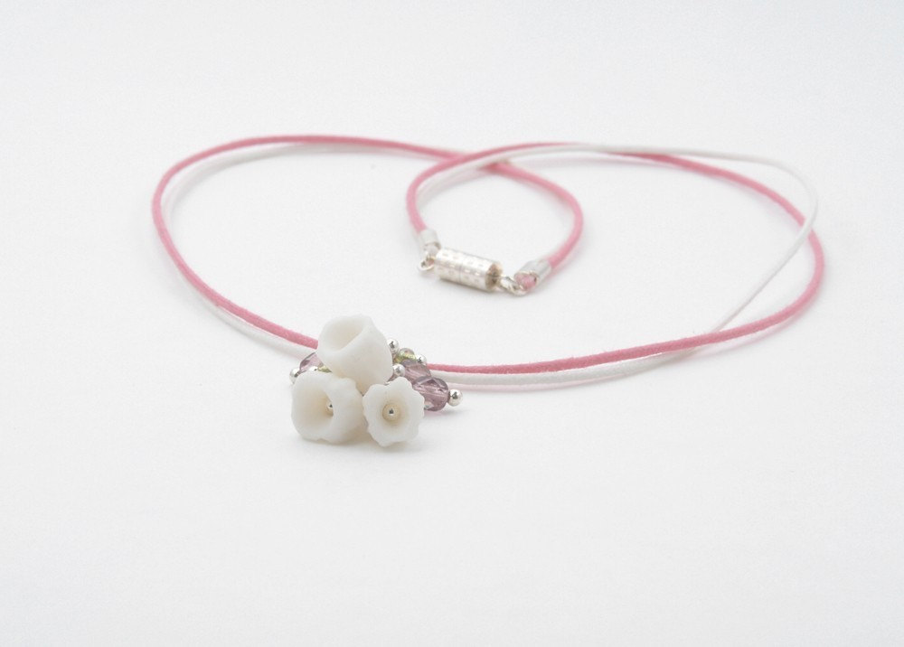 Patinko Little Girl Necklace, Pink and White